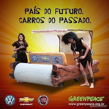 Greenpeace lança carro da Idade da Pedra