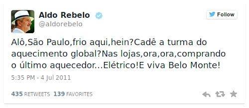 tweet de Aldo Rebelo