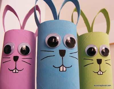 Coelhinhos de rolos de papel higienico