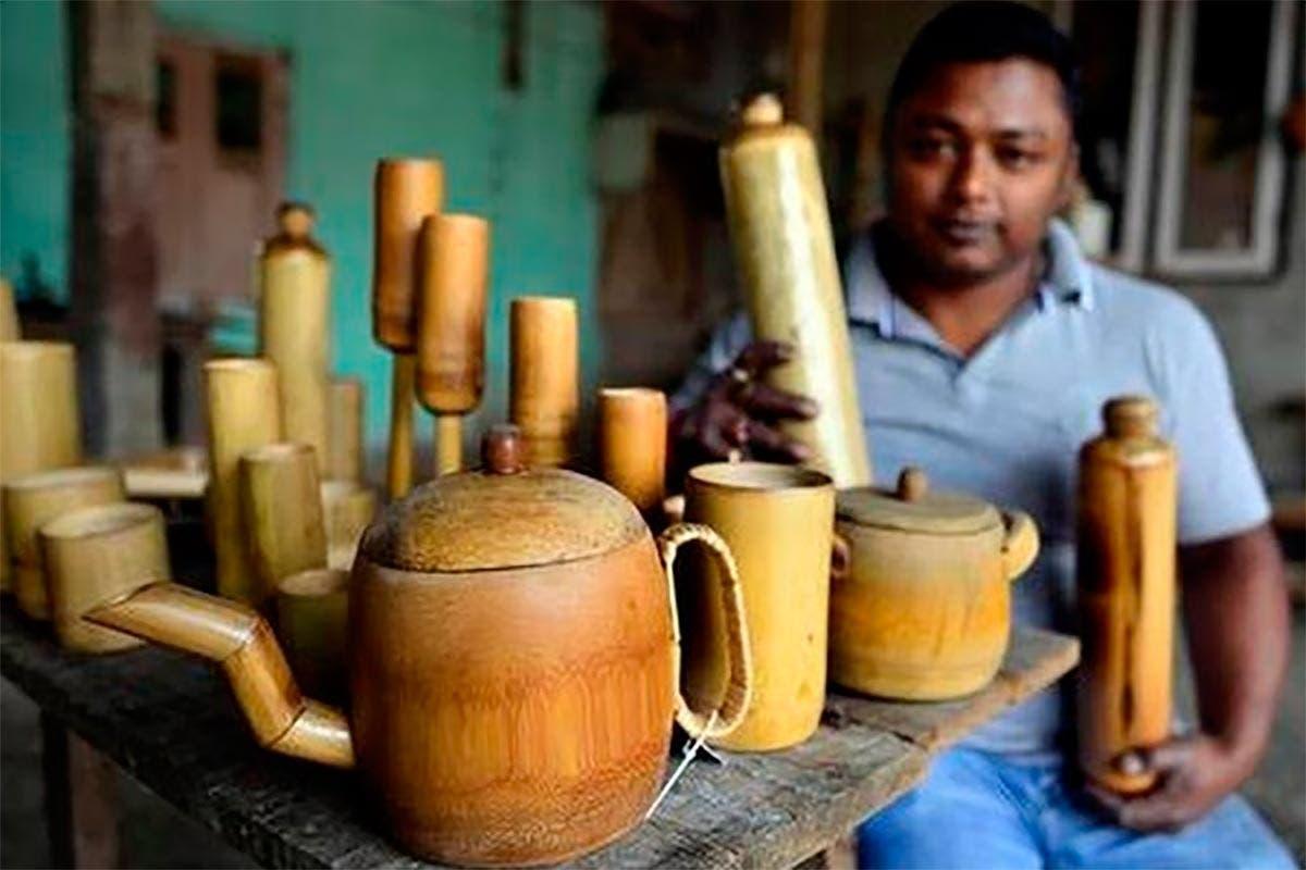 garrafas de bambu